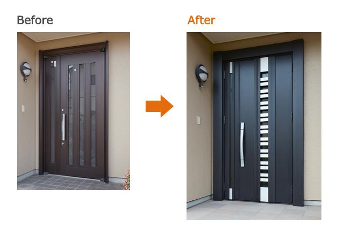 リシェント玄関ドア:E90型(採風タイプ)トリノパイン S型ハンドル 親子