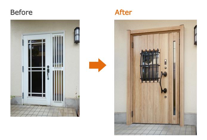 リシェント玄関ドア:C44型 シュガーオーク D型ハンドル 親子