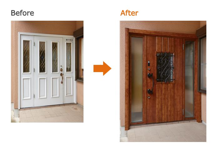 リシェント玄関ドア:C41型 ハンドダウンチェリー 両袖 D型ハンドル