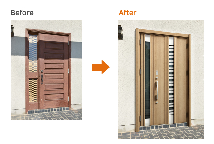 リシェント玄関ドア:E90型 クリエラスク B型ハンドル 親子